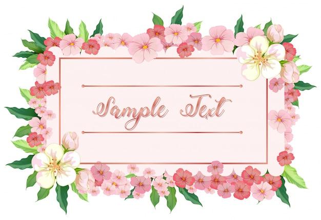 Modelo de cartão com flores rosa em torno da borda