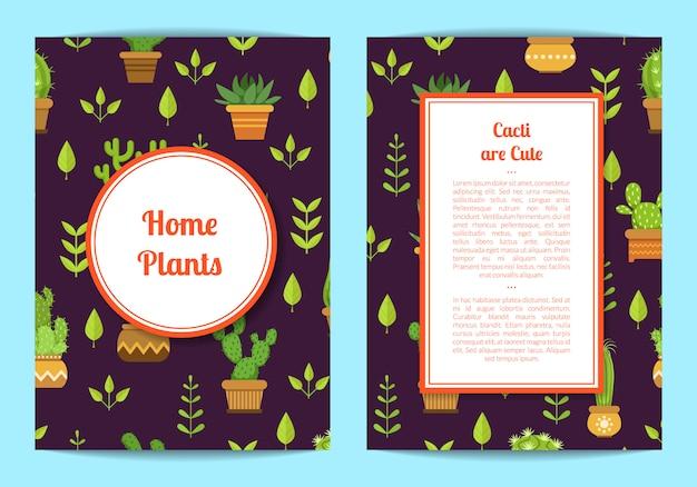 Modelo de cartão com letras, cactos em vasos, círculo emoldurado e retângulo com lugar para texto