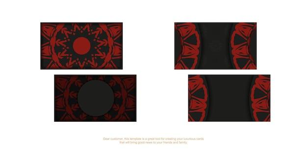 Modelo de cartão com lugar para o seu texto e ornamento vintage. modelo de vetor para imprimir cartões de visita de design de cor preta com padrões de mandala vermelha.