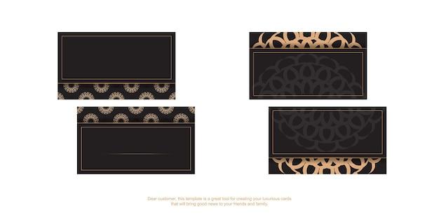 Modelo de cartão com lugar para o seu texto e ornamento vintage. modelo para design de impressão de cartões de visita na cor preta com padrões de luxo.
