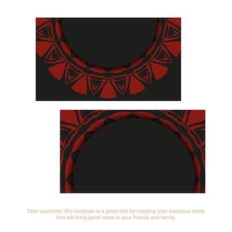 Modelo de cartão com lugar para o seu texto e ornamento vintage. modelo para imprimir cartões de visita de design em preto com padrões de vermelho gregos.