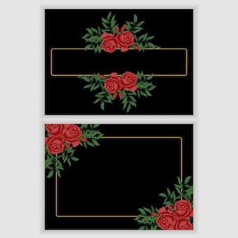 Modelo de cartão com moldura floral vintage