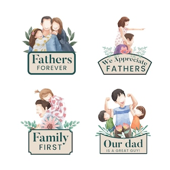 Modelo de cartão com o conceito do dia dos pais, estilo aquarela