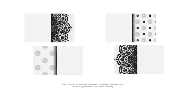Modelo de cartão com ornamento grego. modelo de vetor para impressão de design de cartões de visita cor branca com padrões vintage pretos.