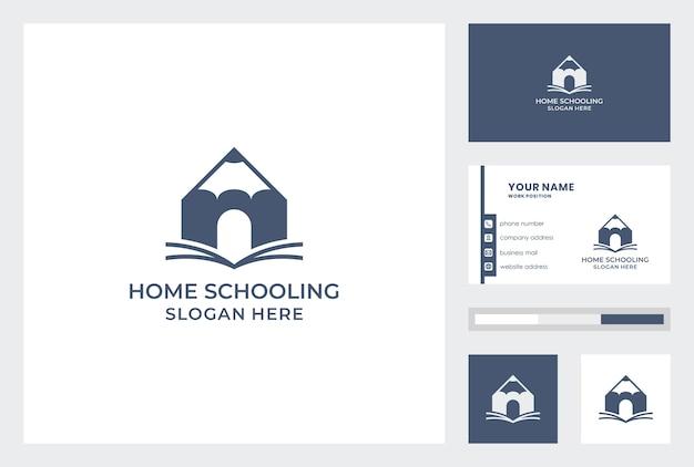 Modelo de cartão com vetor de pemium de design de logotipo de escolarização em casa.