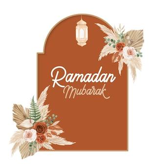Modelo de cartão comemorativo de ramadan mubarak com estilo boho