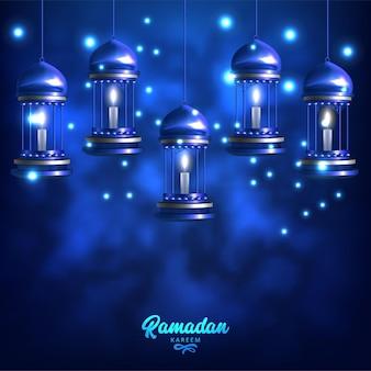 Modelo de cartão comemorativo ramadan kareem com lâmpadas