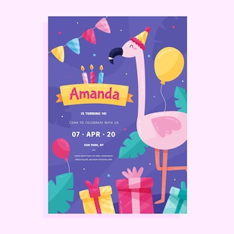 Modelo de cartão / convite de aniversário infantil com flamingo e presentes