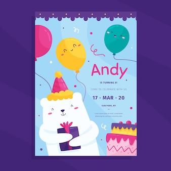 Modelo de cartão / convite de aniversário infantil com urso e presentes