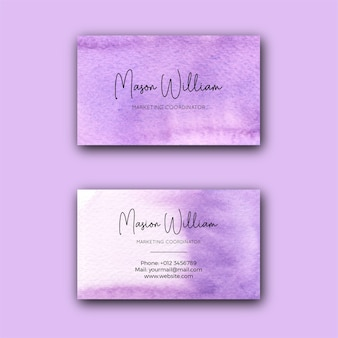 Modelo de cartão corporativo abstrato violeta aquarela