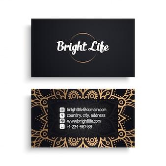 Modelo de cartão corporativo com design de luxo étnico, estilo boho