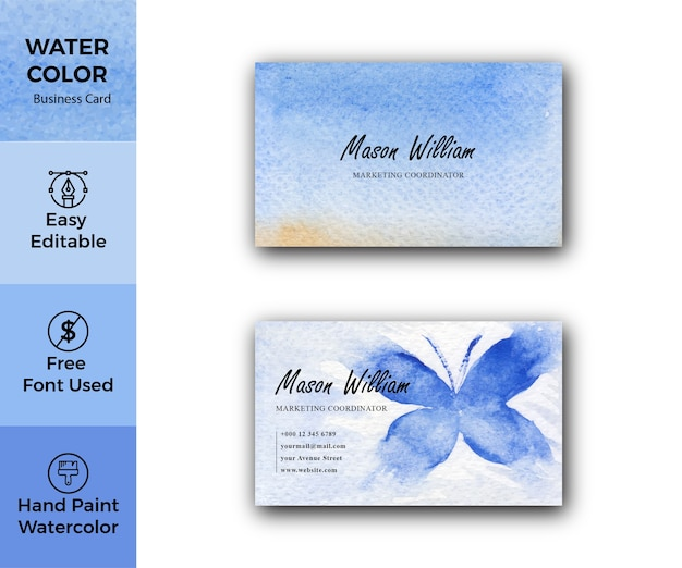 Modelo de cartão corporativo de textura aquarela azul abstrata