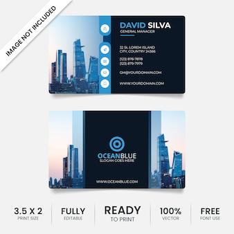 Modelo de cartão criativo azul e preto com foto