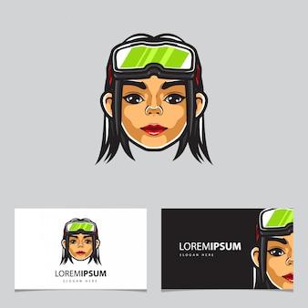 Modelo de cartão cyber-punk girl head e-sport