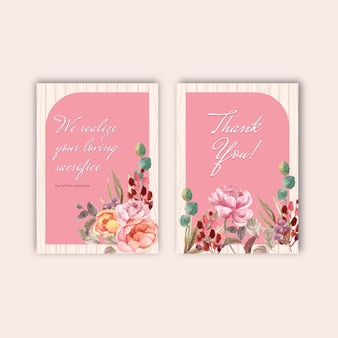 Modelo de cartão de agradecimento com amor florescendo conceito design aquarela ilustração
