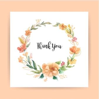 Modelo de cartão de agradecimento com coroa de flores em aquarela