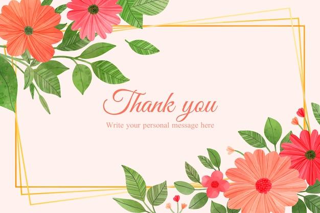Modelo de cartão de agradecimento com design floral
