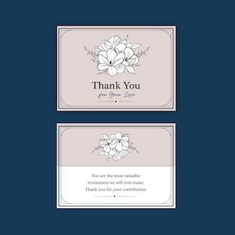 Modelo de cartão de agradecimento com flor de arte de linha