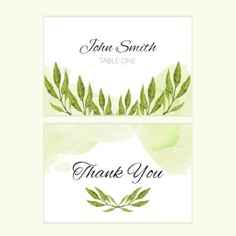 Modelo de cartão de agradecimento com folhas de pintura em aquarela de mão