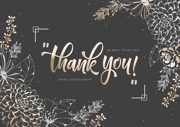 Modelo de cartão de agradecimento com moldura floral dourada