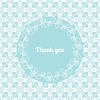 Modelo de cartão de agradecimento com moldura floral