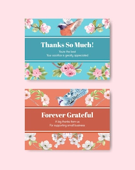 Modelo de cartão de agradecimento com pássaros e conceito de primavera