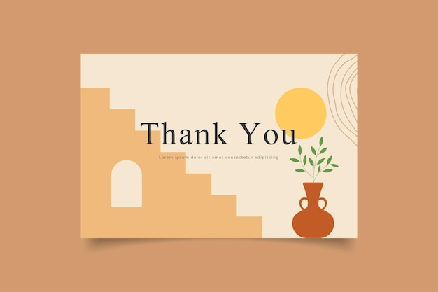 Modelo de cartão de agradecimento contemporâneo boho