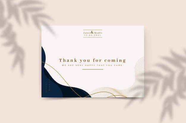 Modelo de cartão de agradecimento de casamento