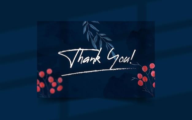 Modelo de cartão de agradecimento desenhado à mão