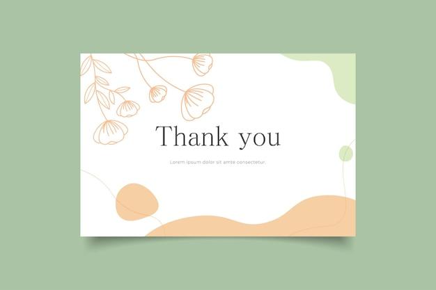 Modelo de cartão de agradecimento minimalista desenhado à mão