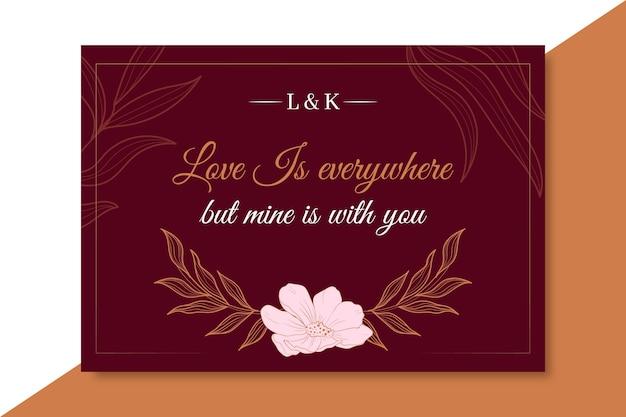 Modelo de cartão de amor elegante com flor