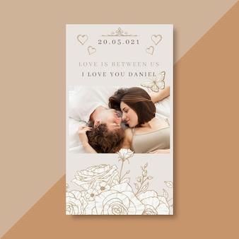 Modelo de cartão de amor elegante com foto