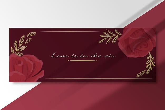 Modelo de cartão de amor elegante com rosas