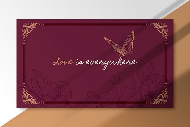 Modelo de cartão de amor elegante