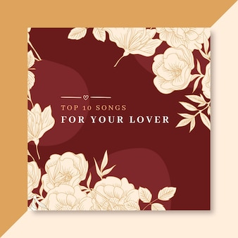 Modelo de cartão de amor quadrado elegante