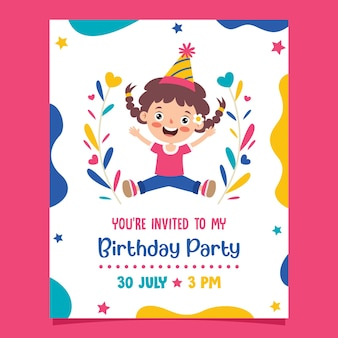 Modelo de cartão de aniversário colorido fofo