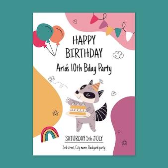 Modelo de cartão de aniversário com animal