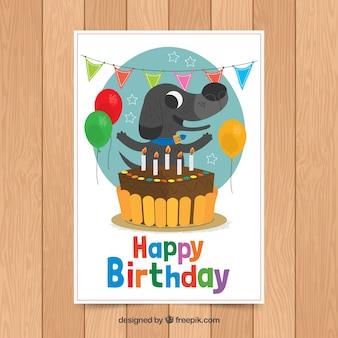 Modelo de cartão de aniversário com cachorro fofo