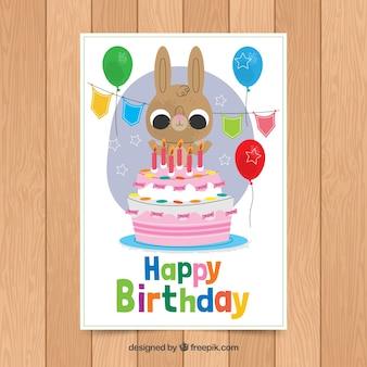 Modelo de cartão de aniversário com coelho fofo