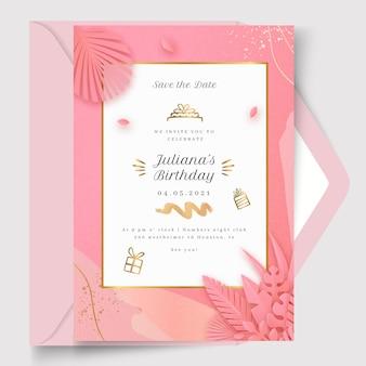 Modelo de cartão de aniversário com detalhes dourados