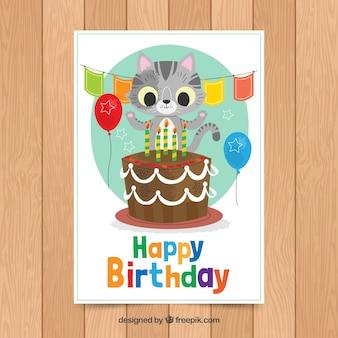Modelo de cartão de aniversário com gato fofo