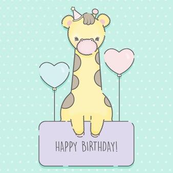 Modelo de cartão de aniversário com girafa de desenho animado premium
