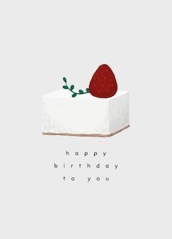Modelo de cartão de aniversário com ilustração de bolo fofo