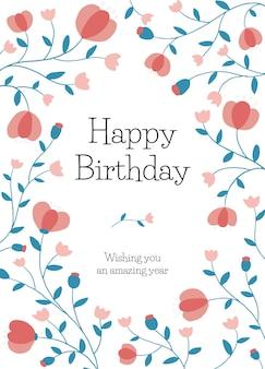 Modelo de cartão de aniversário com moldura floral