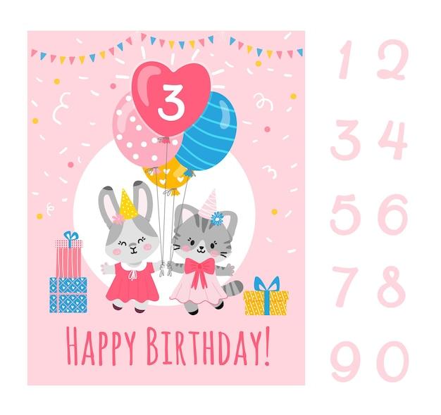 Modelo de cartão de aniversário com númerosbunny e gatinho segurando balões presentes