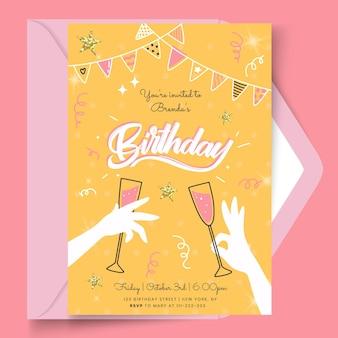 Modelo de cartão de aniversário com óculos