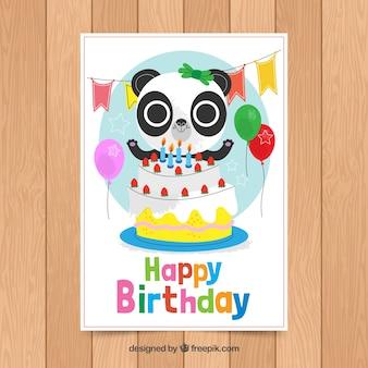 Modelo de cartão de aniversário com panda bonito