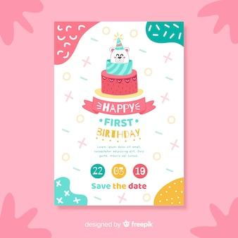 Modelo de cartão de aniversário de bolo de urso