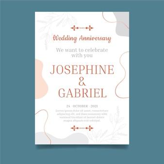 Modelo de cartão de aniversário de casamento