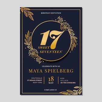 Modelo de cartão de aniversário dourado elegante